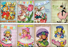 8 EASTER BUNNIES CHILDREN CHICKS RETRO HANG GIFT TAGS FOR SCRAPBOOK PAGES 33