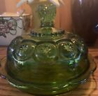 Emerald Green Glass Pedestal Candy Dish With Lid Vintage