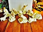 11 HOLIDAY HOME ACCENTS CHRISTMAS JADE PORCELAIN NATIVITY WHITE GOLD TALLEST 7H
