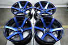 15 4x100 Blue Wheels Fits Mazda Mazda2 Miata Mx5 Protege Civic Cobalt 4 Lug Rims