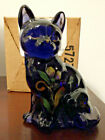 Fenton Sitting Cat Hyacinth Glass Hand Painted W Original Box 5165 XF