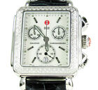 0.66ct Ladies Diamond Michele Pearl Dial Deco Day Leather Band Watch