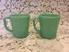 Vintage Jadeite Green Fire King D handle Mugs Coffee Cups set Of 2 Oven Ware