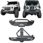 Black Steel Front Bumper Rear Bumper Fit Jeep Wrangler JK 2007 2018