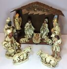 12pc LARGE Vintage Christmas Nativity Creche W Wooden Stable Manger Japan
