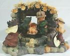 Resin Painted CHILDRENs CHRISTMAS NATIVITY SCENE Stable Stone Walls 9 X 6