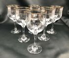 Set of 6 Crystal Glass Wine Champagne 8 oz Gold Platinum Rimmed Floral Design