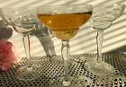 Vintage Art Deco tall Champagne Cocktail Etched Stemware Glasses 6
