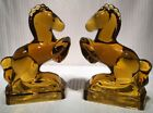 Vintage Amber Glass Bookends( Rearing Horses ) handMolded By Ellie Smith ~ EC