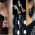2pcs Women Food Jewelry Glass of Wine Goldfish Earrings Cute Ear rings stud Gift
