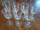 Set of 7 mid-century etched Atomic Starburst water goblets