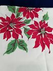 Vintage Christmas Holiday Tablecloth Poinsettia Pine Cones Candle Red White
