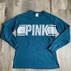 Victorias Secret Pink Small Top Teal Green White Spellout Long Sleeve READ