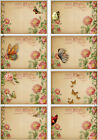 8 FLORAL WRITING POSTCARD BUTTERFLY HANG GIFT TAGS FOR SCRAPBOOK PAGES 74