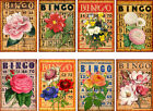 8 FLORAL BINGO CARD HANG GIFT TAGS FOR SCRAPBOOK PAGES 64