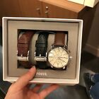 New FOSSIL BQ2141SET Silver Stainless Steel Leather Changable Band Men Watch Set