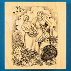 PSX Thanksgiving Scene Rubber Stamp K 2192 Pilgrims  Native American Indian