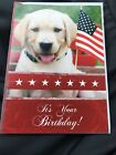 Happy Birthday Greeting Card Adorable Puppy Patriotic Free Shipping