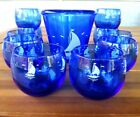 Hazel Atlas 1930s Ships BarWare Cobalt Blue 10-Roly Poly Glasses /1-Ice Bucket