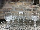 6 Vintage Indiana Glass Wine Glasses Diamond Point Pattern Goblet Clear Pedestal