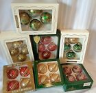 28 Vintage Krebs Rauch Christmas Glass Ornaments Glitter Ribbon 7 Boxes of 4