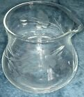 Floral Etched Creamer Mini Pitcher Vintage Clear Glass 2.5