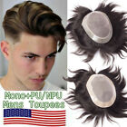 Mono Lace Toupee Mens Hair Replacement System Hairpiece Real Virgin Human Hair F
