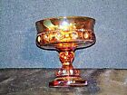 Fenton Amber Carnival Glass Pedestal Compote Kings Crown Candy Dish Iridescent