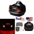 Motorcycle Tour Tail Box Scooter Trunk Luggage With Brake Turn Lights LED Lamp