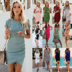 Women Short Sleeve Mini Dress Casual Long Tops Blouse Slim T Shirt Sundress US
