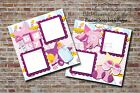 Baby Girl Shower Pink Purple 2 PRINTED Premade Scrapbook Pages BLJgraves 43