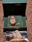 Rolex 16013 Datejust Mens SS+18K Quickset Jubilee Band Tapestry Dial Box