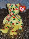 TY BEANIE BABY BEAR - PINATA 2003 FLAG NOSE - HANG TAG PROTECTED - EXCELLENT CON