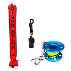 Scuba Diving Surface Marker Buoy+Lift Line Finger Reel Spool+Safety Whistle