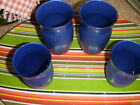 1936 FOUR HAZEL ATLAS Fine Rib Platonite Blue TUMBLERS, two each 4 inch, 5 inch