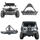 Black Steel Stinger Front +Rear Bumper w Tire Carrier for Jeep Wrangler JK 07 18