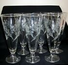 6 LIBBEY GLASS ETCH FROSTED WHEAT DESIGN PILSNER BEER GLASSES BAR WARE