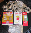 Vntg 50s CHRISTMAS TREE GARLAND FOIL TINSEL SILVER LOT Angel Hair Red Tinsel
