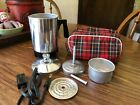 Vintage Cornwall Corp Travel 4 Cup Coffee Pot Model 225 with Plaid Storage Bag