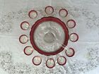 Lexington by Indiana 14pc Punch Bowl Set w Ruby Red Rim  Thumbprint Design