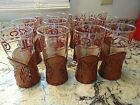 12 VTG Libbey BAMCO Western Drinking Glass Tooled Leather Longhorn Sleeve Brands