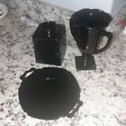 3 USED Vintage Black Amethyst Glass Glassware Pieces Cup Plate Vase