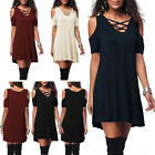 Women Casual Short Sleeve Cold Shoulder Tunic Dress Party Sexy T-Shirt Dress
