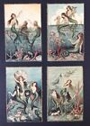 Vintage Fantasy Mermaid Postcards 4 Signed Chiostri Lovely Images