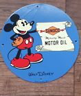 Sunoco Motor Oil Mickey Mouse Disney Porcelain Sign Dated 1933