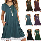 Summer Womens Short Sleeve Loose Casual Blouse Tops Lace Shirt Dress Sexy Pocket