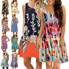 Women Boho Floral Short Dress Casual Party Evening Summer Beach Tank Sundress