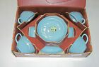 VINTAGE 1951-60 FIRE KING WARE ANCHOR HOCKING TURQUOISE BLUE 12 PC DINNERWARE