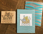 Stampin Up retired TWO BY TWO wood stamp  WAVES Embossing folder BABY NOAH ARK