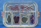 Vintage Indiana Glass Tray Divided Relish Serving Tray Dish Stained Glass Fruit